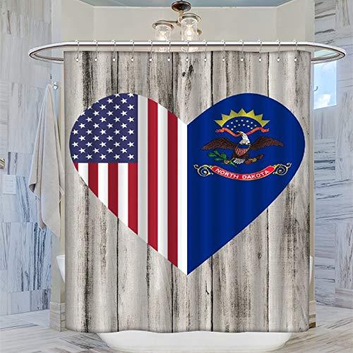 Trelemek Half North Dakota - Cortina de ducha (183 x 183 cm, con 12 ganchos de plástico, lavable, diseño de corazón con bandera de Estados Unidos, 183 x 183 cm)