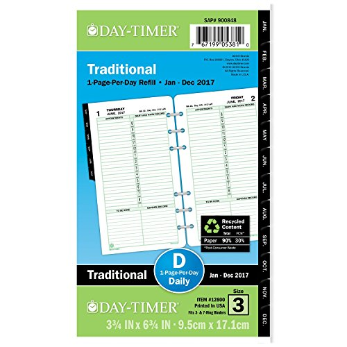 Day-Timer Daily Planner Refill 2017, One Page Per Day, Traditional, 3-3/4 x 6-3/4', Portable Size (12800)