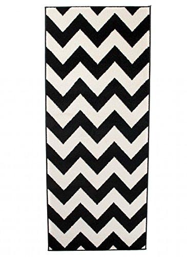 Carpeto Läufer Teppich Modern schwarz-weiß 70 x 200 cm Geometrische Muster Kurzflor Furuvik Kollektion