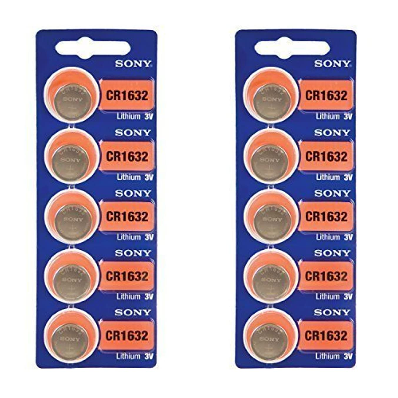 SONY CR1632 3 Volt Lithium Coin Battery 10 Pack (2 packs of 5)