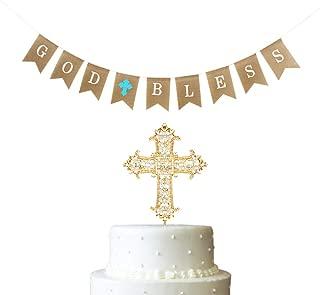 2 PCS Baptism Gifts for Boys Decoration God Bless First Communion Burlap Banner Party Supplier Blue Cross Christening Celebration Cake Topper Golden
