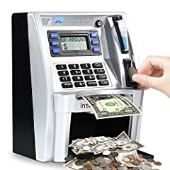 Using Realistic Banking Card and PIN Code to Access--Just insert the card and enter 4-digit password,it lights up and makes voice prompt.perfect for Christmas gift or birthday present. Automatic Coin Recognition--Deposit cash,check balance or make a ...