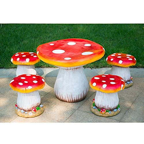 中庭の庭の幼稚園の森の風景の彫刻の装飾の屋外のガラス繊維強化プラスチック製のキノコのテーブルと椅子の庭のテーブルと椅子の装飾 (Color : Red, Size : 60*50+30*30cm*4)