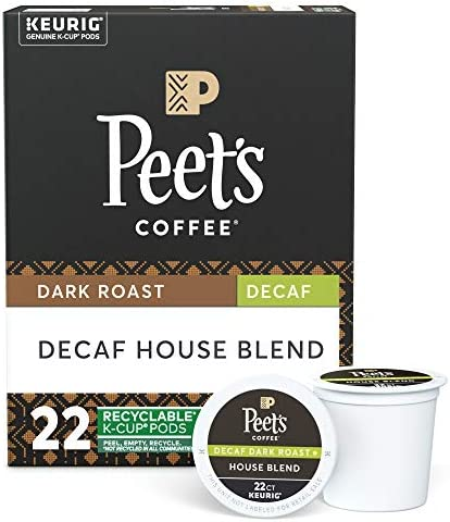 Peet s Coffee Decaf House Blend K Cup Coffee Pods for Keurig Brewers Dark Roast 22 Pods product image