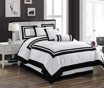 7 Pieces Caprice White with Black Hotel Comforter Set Full Size Bedding