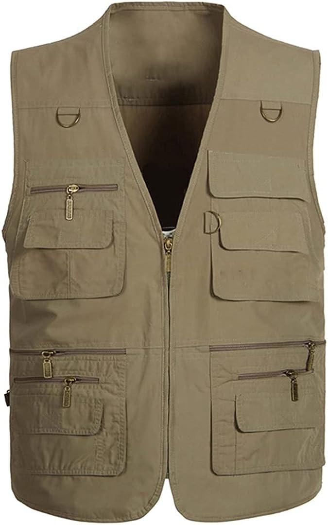 Men's Multi-Pocket Photographer Tool Jacket Sleeveless Jacket Loose Vest