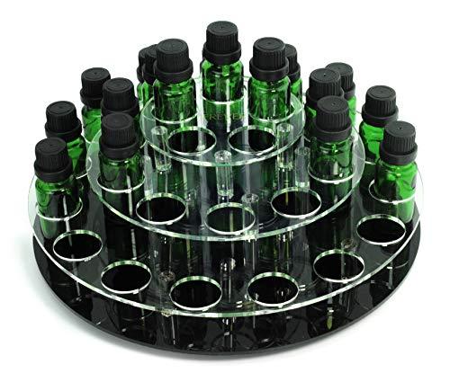 JEREVER Rotating Essential Oil Display Rack for 30 Bottles - Holds 5-15ml Oils - 3 Tier