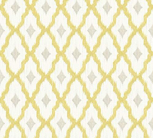 Architects Paper Textiltapete Tessuto 2 Tapete mit grafischen Ornamenten 10,05 m x 0,53 m gelb metallic weiß Made in Germany 961973 96197-3
