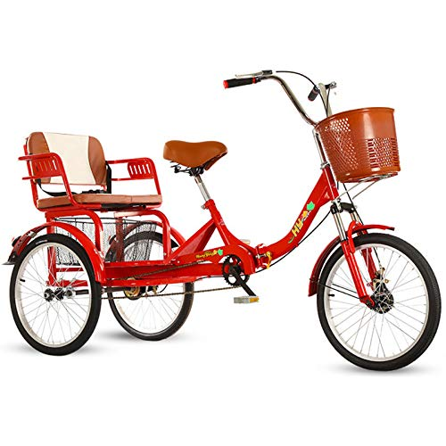 industrial trikes ZFF 3 Wheel Bicycle Adult Tricycle with Back Seat Double 20 Inch Trikes Cruise Bike with Low Step-Through and Cargo Basket for Seniors Women Men (Color : Red)