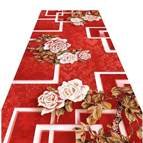 Rosso Passatoia Tappeto Sposare Nozze Apri Negozio Portone Celebrazione Tappeto Runner, Vari Spessori Dimensione Completa ALGFree (Color : A, Size : 80x250cm)