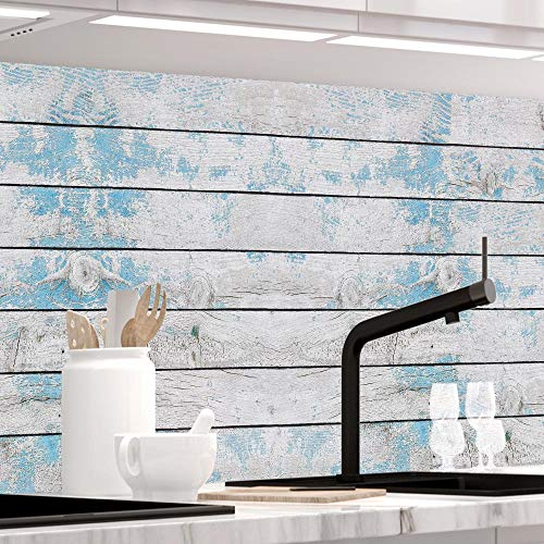 StickerProfis Küchenrückwand selbstklebend Pro BLAUES Design Holz 60 x 280cm DIY - Do It Yourself PVC Spritzschutz