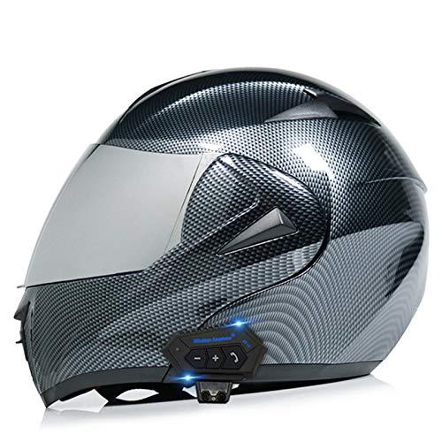 Bluetooth De Motocicleta Casco, Modular De Doble Visera Cascos Integrales ECE Certificado Casco Incorporado En Integrado De Intercomunicación Sistema De Comuni Adultos Unisex G,XL