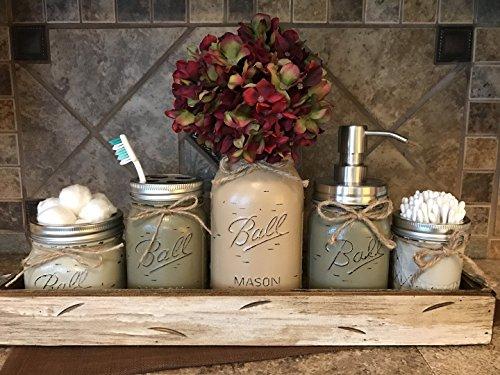 Ball Mason Jar BATHROOM ULTIMATE SET Antique WHITE Tray ~Toothbrush, Quart Jar (flower optional) Cotton Ball Soap Dispenser ~JARS Distressed Stainless Steel Accessories Gray Blue Green Cream Tan