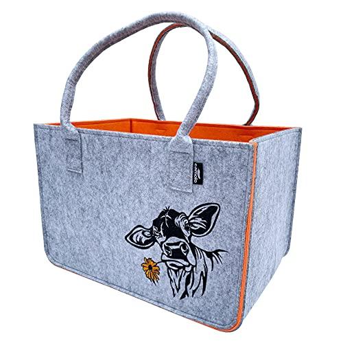 camolo Filztasche Große Einkaufstasche 40x27x27cm Aufbewahrungstasche Kaminholztasche Filz Tasche Shopping-Bag Mit Tragegriff (COW ORANGE)