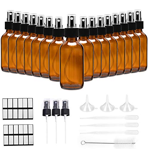 2oz Amber Glass Spray Bottles,DREAM ARK 16 Pack Empty Refillable Small Fine Mist Spray Bottle for Essential Oils, Beauty Products, Perfume, Homemade Cleaners,Makeup Tools and Aromatherapy