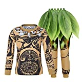 COTRIO Tattoos Costume Boys 2-Piece Long Sleeve Cosplay Outfit with Ti Leaf Hula Skirt Luau Party Accessory Green Short Skirt Size 8 (8-9 Years, Brown, 130)