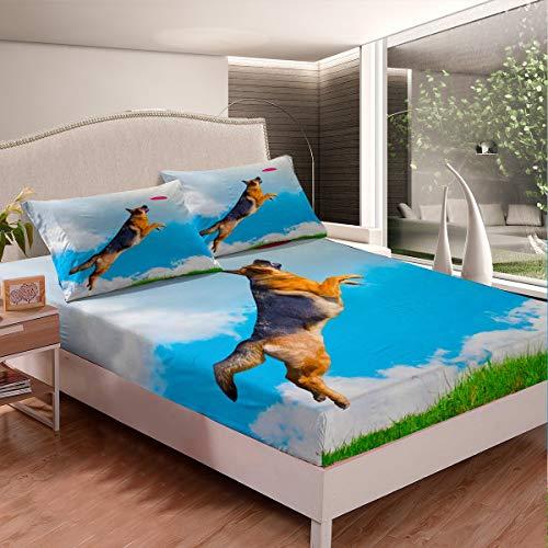 Juego de sábanas ajustables para perros 3D para niños y niñas jugando al pastor alemán, juego de cama con estampado de perro, bonito diseño de animales, 2 sábanas de tamaño individual