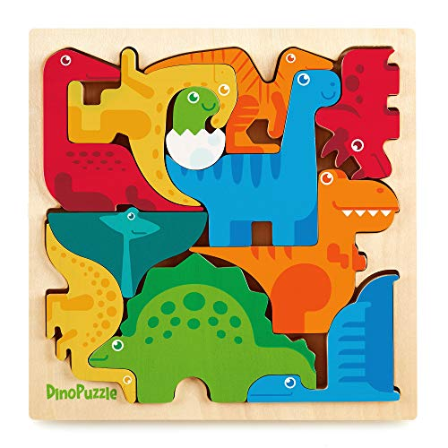 """Dinosaur Puzzle 3D Wood Jigsaw for Toddlers & Kids Age 3 +, 9""""x 9"""" x .5"""" - Bright, Colorful Shape Sorting :: Promotes Play, Imagination, Creativity & Learning :: Non Toxic :: Super Fun Gift"""
