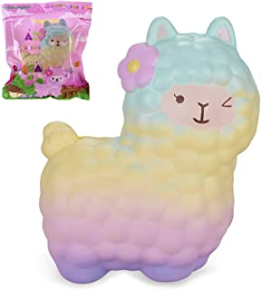 """VLAMPO Squishies Alpaca 6.5"""", Squishy Slow Rising Stress Relief Toys Super Soft Time Killer Funny Squeeze Toys Cute Scented Fragrant Decoration Toys for Kids&Adults (Rainbow)"""