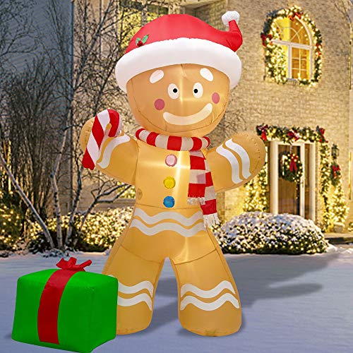 DR.DUDU 8 FT Christmas Inflatable Gingerbread Man with Led Lights, Blow Up Self-Inflatable for Christmas, Party Indoor, Outdoor, Yard, Garden, Lawn Dcor.