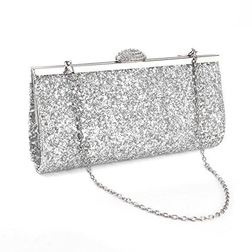 SurePromise One Stop Solution for Sourcing Strass Umhängetasche Glitzernd Tasche Damen Glitzer Abendtasche Kette Crystal Handtasche für Party Hochzeit (Silber)