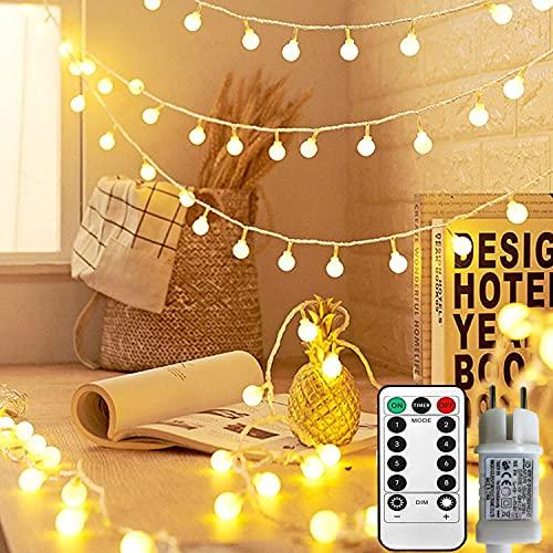 Luci Fatate,100 LED Catena Luminosa con Spina ed Telecomando per Interno ed Esterno,8 Modalità di Llluminazione per Camera da letto,Giardino,Matrimonio,Balcone,Natalizie Decorazioni