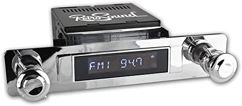 Apache Radio with Installation Bezel, Chrome Knob Kit and Vintage Dial Screen Compatible with 1954 Chevrolet Truck