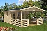 Alpholz Gartenhaus Lappland-40 B aus Massiv-Holz | Gerätehaus mit 40 mm Wandstärke | Garten Holzhaus inklusive Montagematerial | Geräteschuppen Größe: 380 x 594 cm | Satteldach
