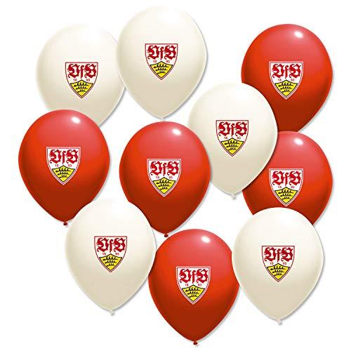 Stuttgart VfB 10er Packung Luftballons rot/Weiss mit Wappen Party Gadget Geburtstag/Silvester/Aufstieg/Meisterschaft