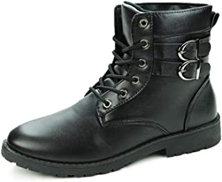 SHENYUAN Men's Ankle Boots Combat Boot Round Toe Lace up Synthetic Leather High Top Solid Colour Stitch Dual Buckle Straps Anti-slip Work or Casual Wear (Color : Black, Size : 40 EU)