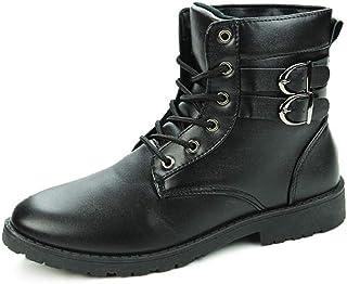 أحذية ركوب الترفيه للماء Ankle Boots for Men Combat Boot Rhythm Toe Lace up Synthetic Leather High Top Solid Coloring Stit...