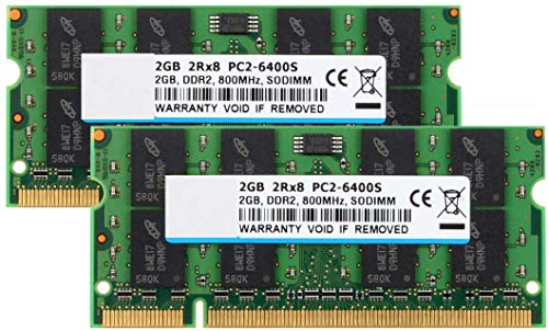 Kit de 4 GB (2 x 2 GB) 2RX8 PC2-6300 DDR2 PC2-6400 PC2-6400S 800 MHz SODIMM CL6 200 Pin 1.8v No ECC sin búfer de memoria RAM Notebook módulo de memoria portátil compatible con Intel AMD y MAC Siste...