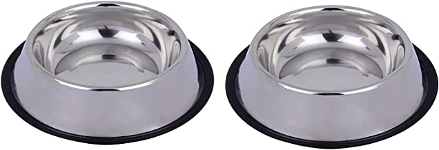 Naaz Pet Supplies Stainless Steel Anti Skid Dog Bowls Medium (450ml, Silver) - Set of 2