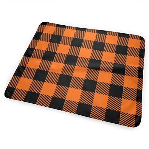 Classic Halloween Plaid In Orange Black Bed Pad Washable Waterproof Urine Pads for Baby Toddler Children and Adults 31.5 X 25.5 inch