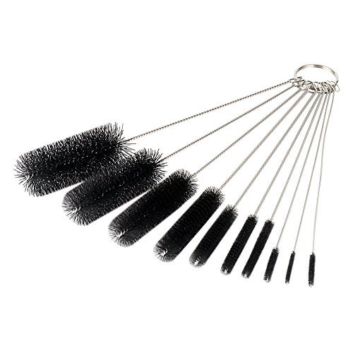 LOUFIMIDON Pipe Cleaners, 8.2 Inches Nylon Pipe Cleaner Brushes Bottle Nozzle Tube Brush Set of 10 (10, Black)