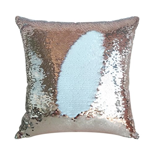 San Tungus 14'x14' Rose Gold and White Birthday Mermaid Sequin Pillow Case, Reversible Mermaid Throw Pillow Case Color Changing Sequins Standard Cotton for Couch Decoration