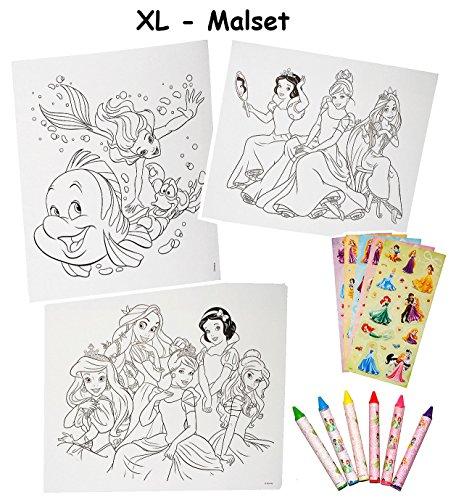 XL Malset / Zeichenset - Disney Prinzessin - mit 6 Wachsmalstifte + 77 Sticker / Aufkleber - Malvorlagen - Princess Arielle Schneewittchen Rapunzel - für Mädc..
