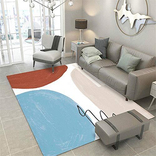 Kunsen Cuadros Salon Modernos Grandes alfombras Salon Modernas Salón Dormitorio Alfombra Azul Rosa Blanco Antideslizante y anticaída Alfombra Esparto 200X280CM 6ft 6.7' X9ft 2.2'
