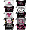 10 Pieces Letters Makeup Bags Cosmetic Pouch Travel Zipper Cosmetic Organizer Toiletry Bag Printing Pencil Bag for Women Girls Supplies Valentine's Day Gift (Black and Hot Pink Style)