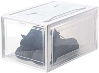 JAY-LONG 3 Packs Clear Shoe Boxes with Lids, Foldable Plastic Organizer Box, Waterproof Stackable Storage Box, Suitable for Sneakers Toy Clothes,White