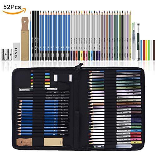 Lypumso 52 Stück Bleistifte Set Zeichenset für Skizzieren und Zeichnen Profi Art mit Graphitkohlestifte Sticks Werkzeuge und Kit Bag