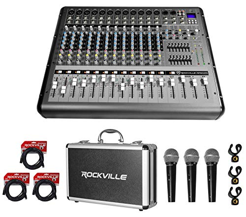 Rockville RPM1470 14 Channel 6000w Powered Mixer, USB/Effects+3 Mics+Case+Cables