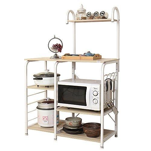Soges Microonde Scaffali Stazione di Lavoro Cucina Armadio per la Conservazione Mensola della Cucina Carrello di Servizio, Maple