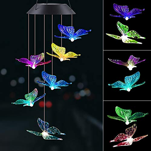 IIET LED Solar Butterfly Wind Chime, Solar Lights Wind Chimes Outdoor Changing Color Waterproof Six Hanging Lights Wind Chimes Solar Mobile for Home Party Night Garden Decoration