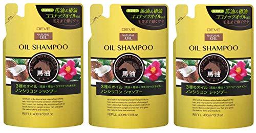 【3個セット】熊野油脂 ディブ 3種のオイルシャンプー(馬油・椿油・ココナッツオイル)400ml×3個