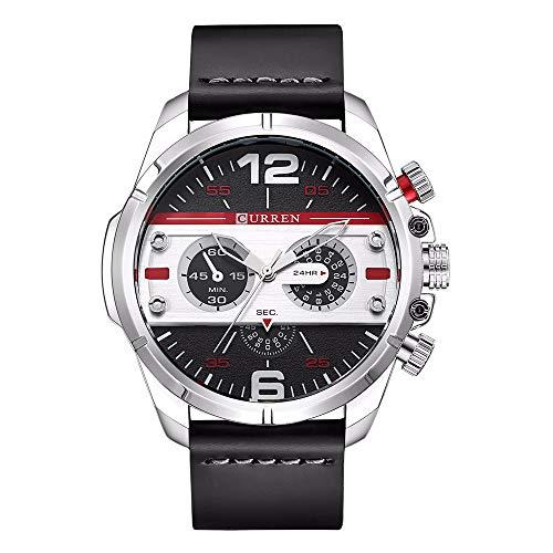 Zwbfu 8259 Hombre de Cuarzo Reloj Moda única Deporte Casual Marca Reloj Ejército Militar Negocio Movimiento Reloj de Pulsera Impermeable de Cuero Relogio