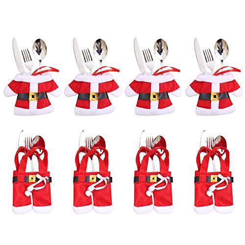 Aitsite 8 Piezas Navidad Cocina Cubiertos Cuchillo Tenedor Cuchara Papá Noel Muñeco Nieve Alce Cuchillo Porta Bolsas Decoraciones para Mesa Bolsita Cubiertos Navidad (Santa)
