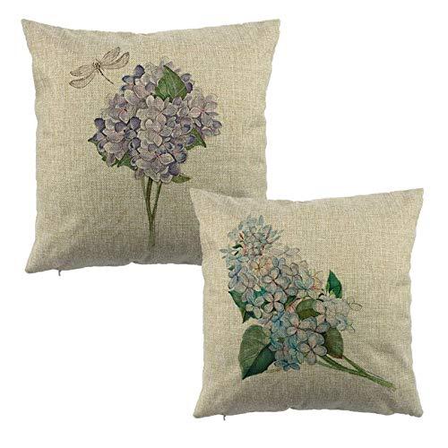 JONJUMP 2 fundas de almohada decorativas para el hogar, diseño floral, 45 x 45 cm