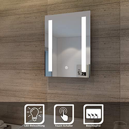 SONNI Badspiegel 50x70cm Spiegel (eckig) mit Sensor-Schalter LED-Beleuchtung kaltweiß IP44 [Energieklasse A+]