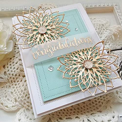 Schöne 3D Blume Stanzschablone Stanzform, Metall Stanzbögen Stanze Stanzrahmen Schablone zur Scrapbooking Karten Silber